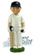 Cricketer Resin Topper with Happy Birthday Motto